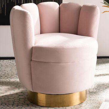 Safavieh Arrow Chair in Light Pink Velvet, , large