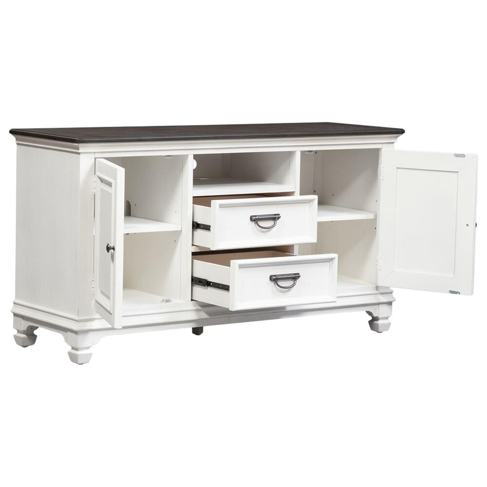 """Belle Furnishings Allyson Park 56"""" TV Console in Wirebrushed White and Weathered Gray, , large"""