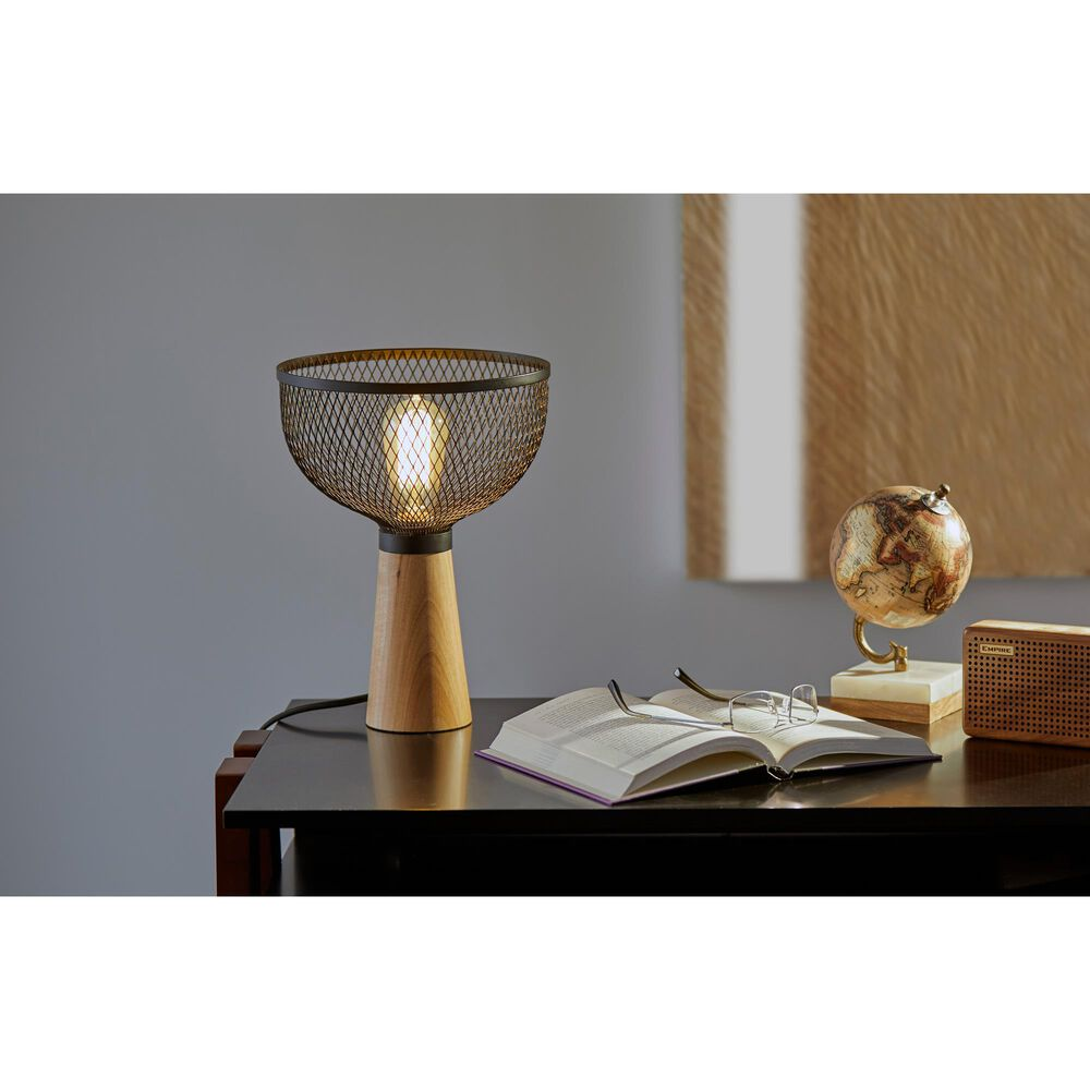 Adesso Dale Table Lamp in Matte Black and Natural, , large