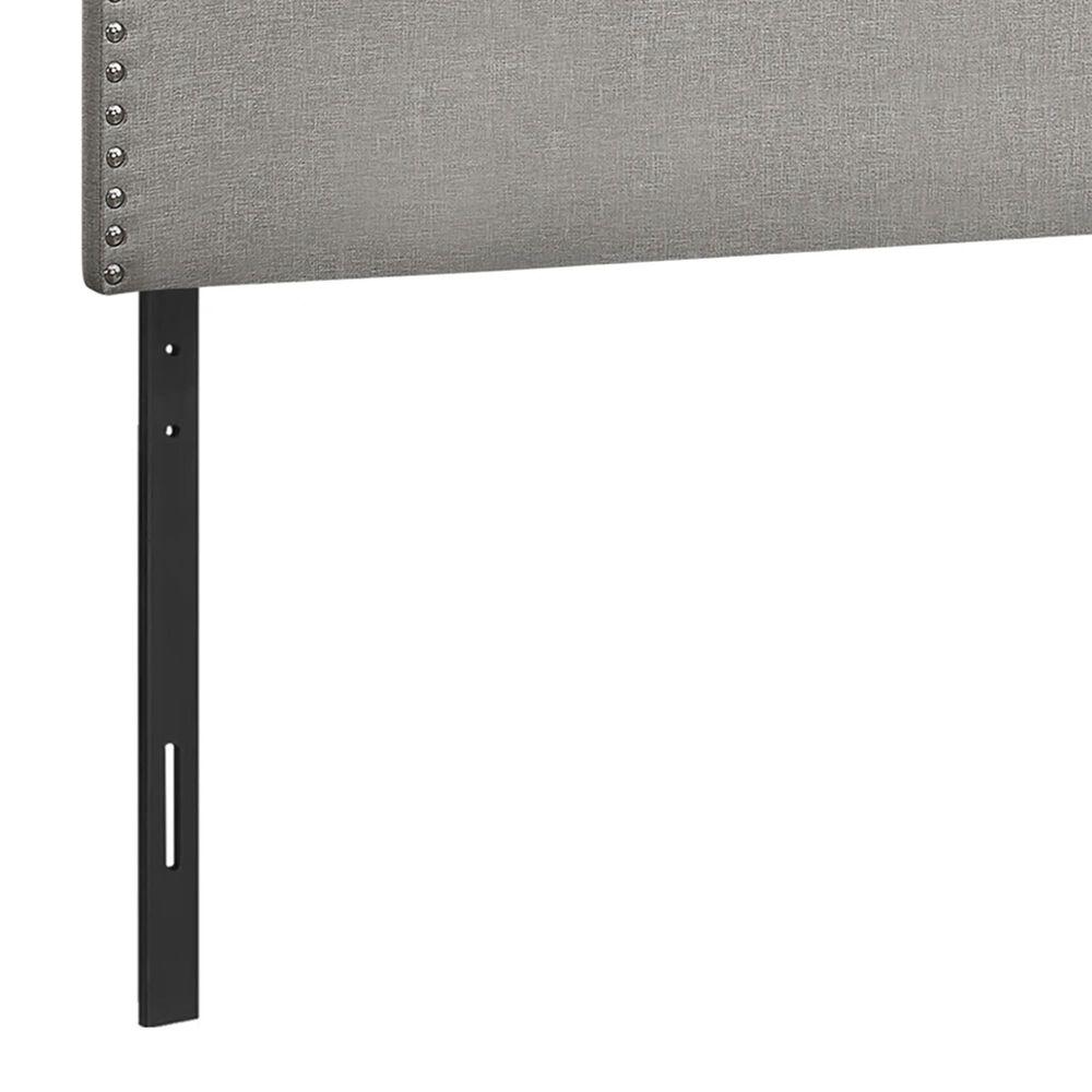 Monarch Specialties Queen Nail Head Trim Headboard in Grey, , large
