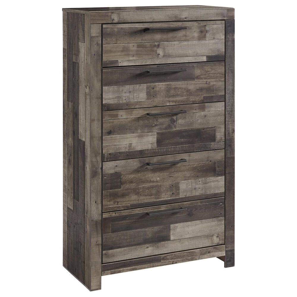 Signature Design by Ashley Derekson 5 Drawer Chest in Walnut and Gray, , large