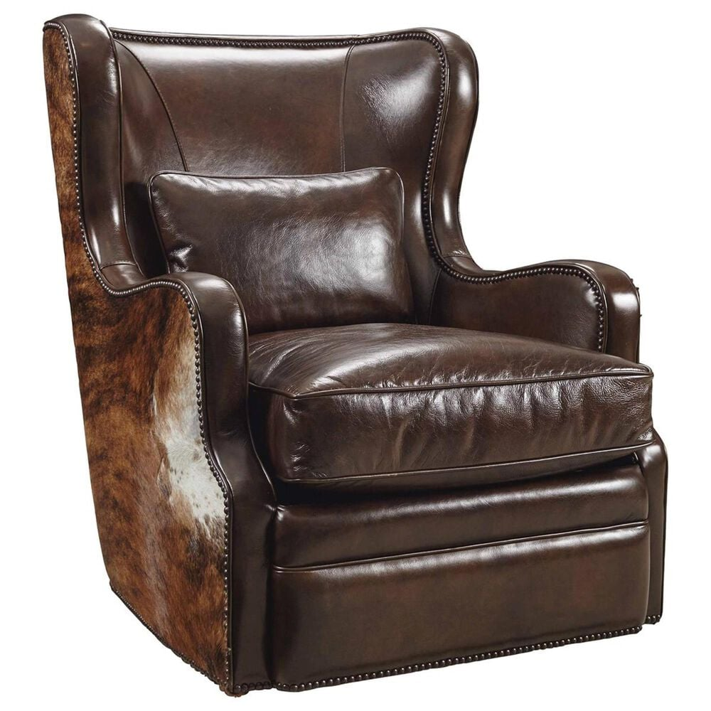 Hooker Furniture Wellington Leather Swivel Club Chair in Coffee and Brindle, , large