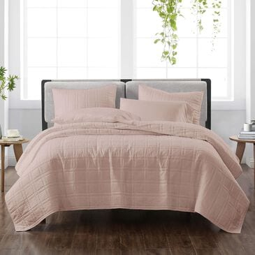 Pem America Cannon Solid 3-Piece Full/Queen Quilt Set in Blush, , large