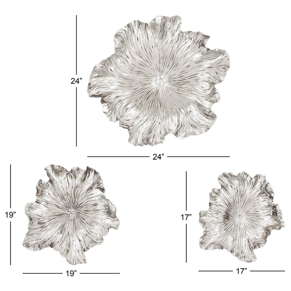 Maple and Jade Eclectic Polystone Wall Decor in Silver (Set of 3), , large