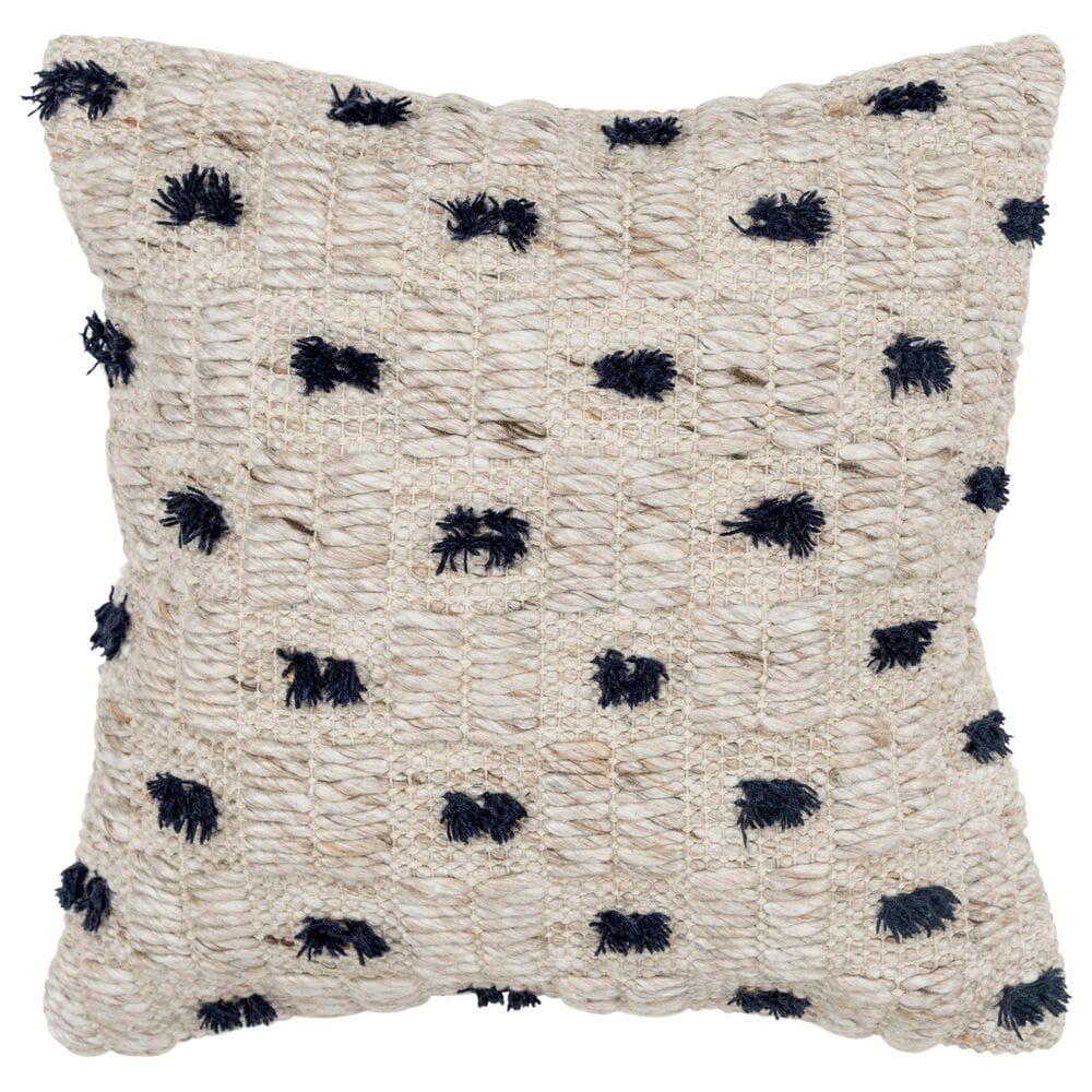 """Rizzy Home Polka Dot 20"""" Pillow Cover in Natural, , large"""