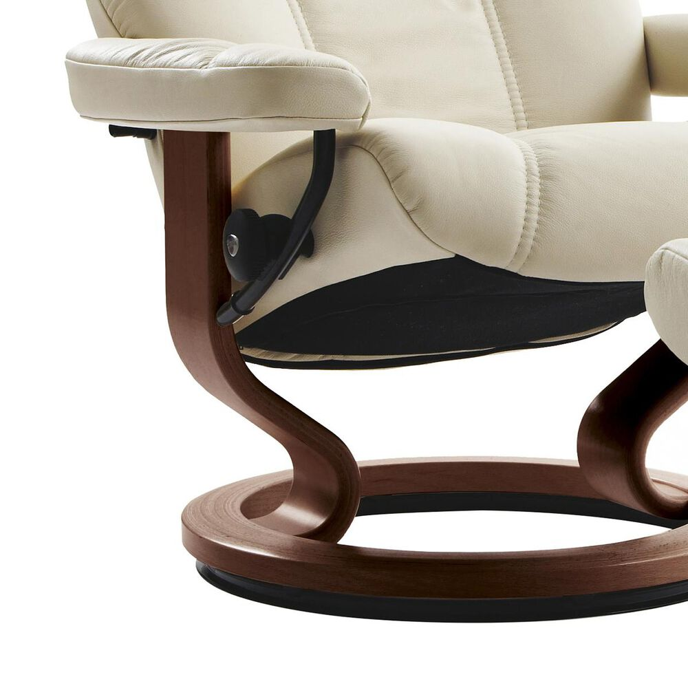 Ekornes Consul Medium Chair and Ottoman with Brown Base in Batick Cream, , large