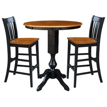International Concepts San Remo 3-Piece Bar Height Dining Set in Black/Cherry, , large