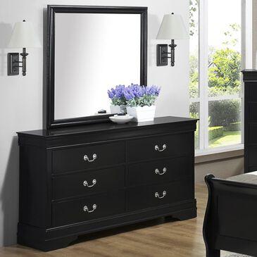 Claremont Louis Philip 6 Drawer Dresser and Mirror in Black, , large