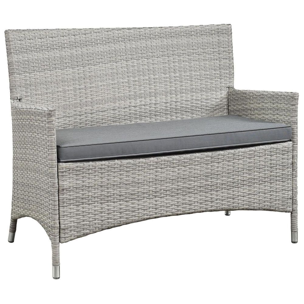 Modway Bridge 4-Piece Outdoor Patio Conversation Set in Light Gray and Gray, , large
