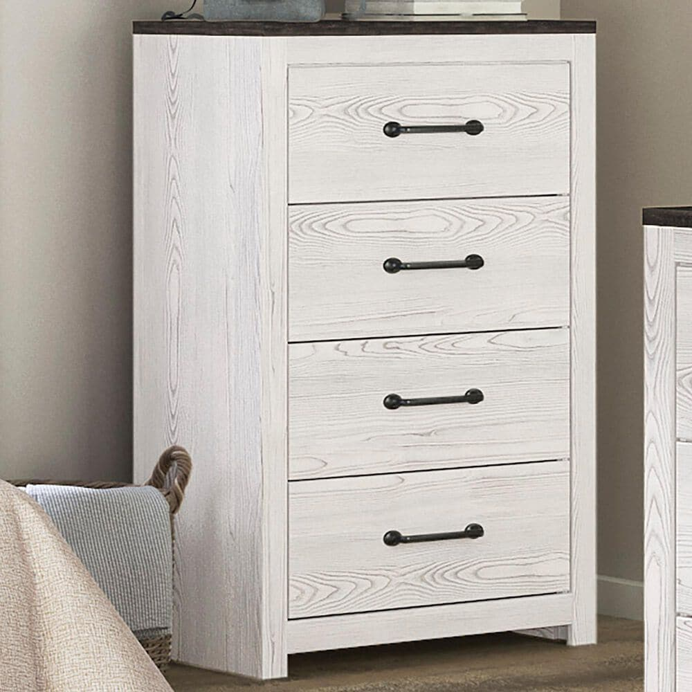 Signature Design by Ashley Gerridan 4 Drawers Chest in White and Gray, , large