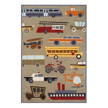 Little Dreamer Lil' Mo Whimsy Transportation 3' x 5' Concrete Kids Rug, , large