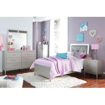 Signature Design by Ashley Olivet 5 Piece Twin Bed Set in Silvertone Metallic, , large