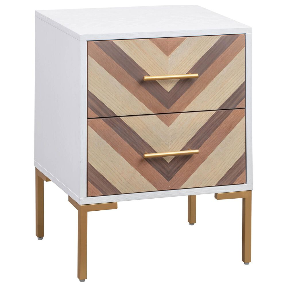 Tov Furniture Quinn Side Table in White and Gold, , large