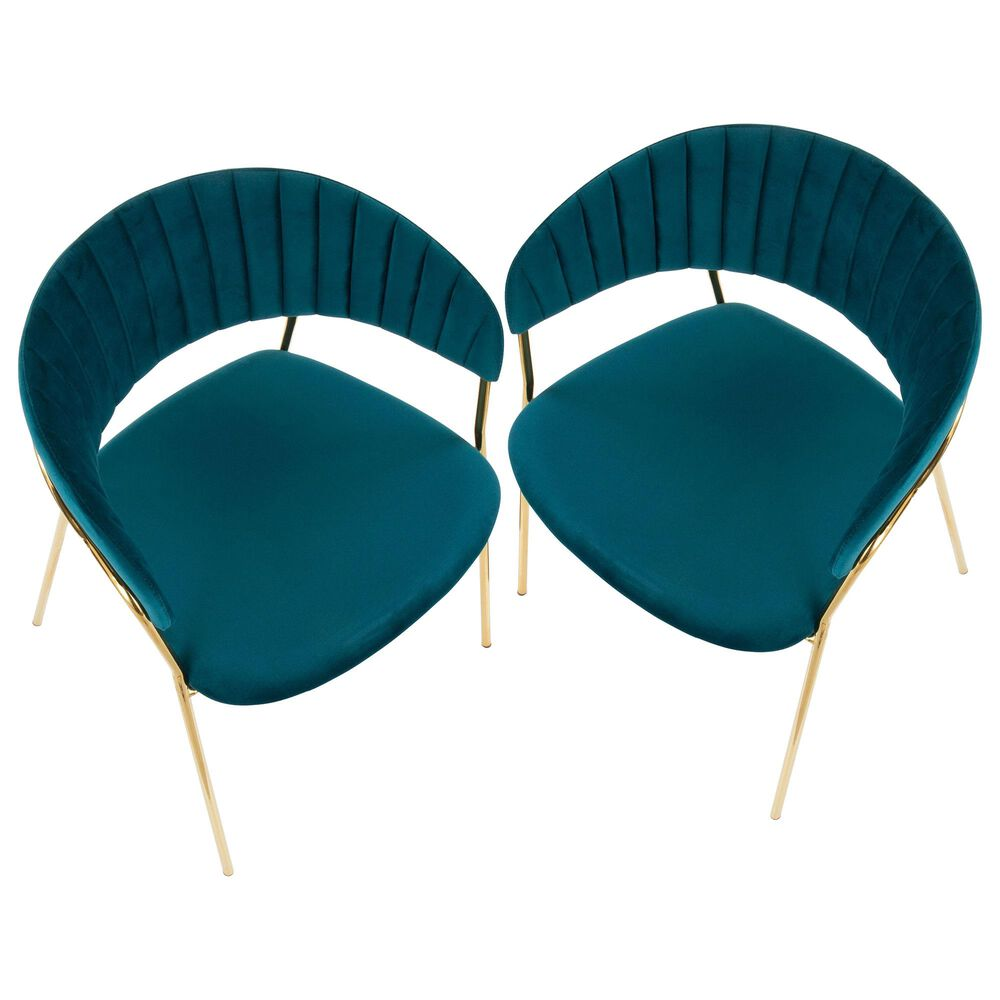 Lumisource Tania Dining Chair in Teal/Gold (Set of 2), , large