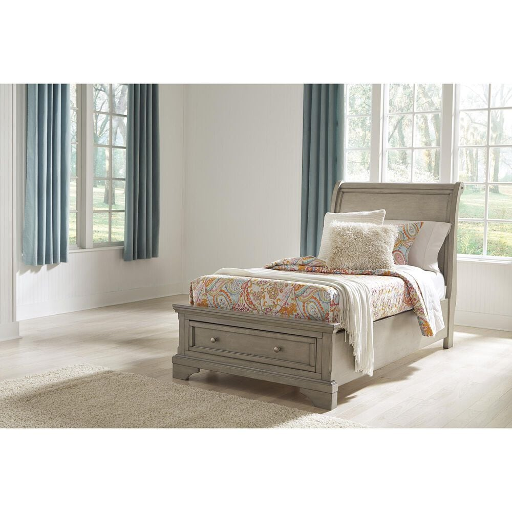 Signature Design by Ashley Lettner Twin Storage Bed in Burnished Light Gray, , large