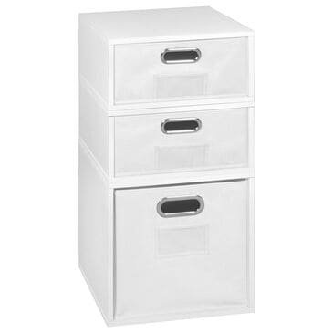 Regency Global Sourcing Niche Cubo 3-Piece Storage Set with Half Drawers in White Wood Grain/White, , large