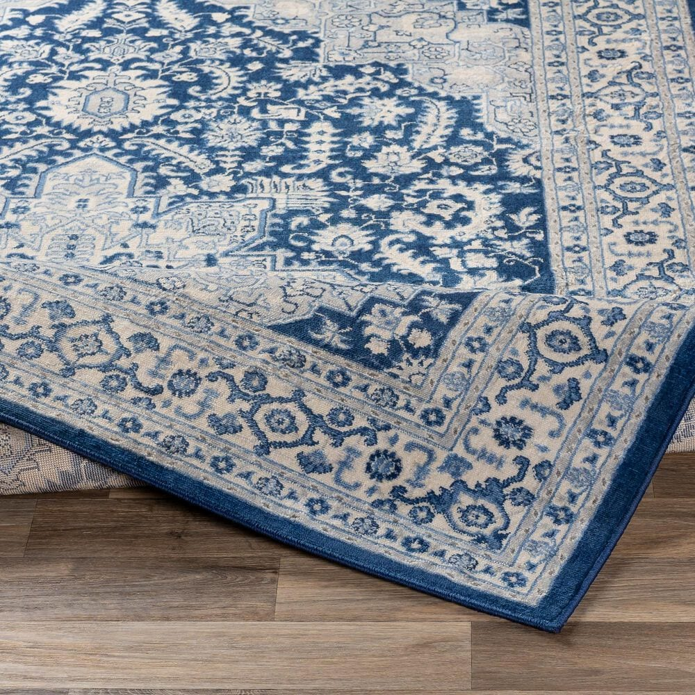 """Surya Monaco MOC-2314 2'6"""" x 8' Navy, Cream and Silver Gray Scatter Rug, , large"""
