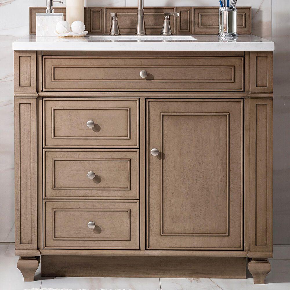 James Martin Bristol 36 Single Bathroom Vanity Cabinet In White Washed Walnut Nebraska Furniture Mart