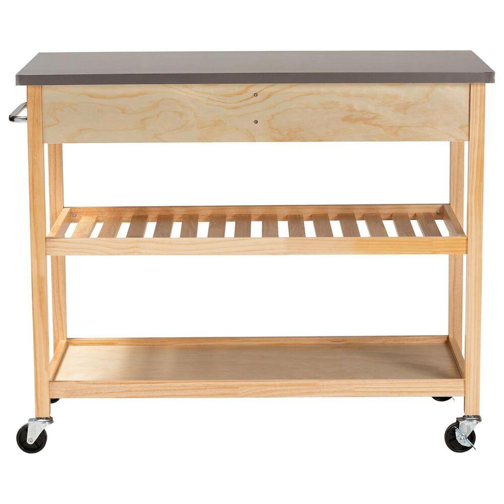 Baxton Studio Cresta 2-Drawer Kitchen Island Cart in Natural, , large