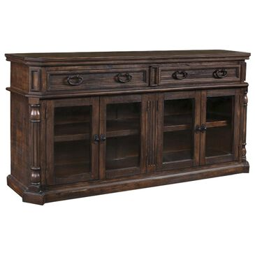 """Sunset Bay Castile 83"""" Entertainment Console in Distressed Brown, , large"""