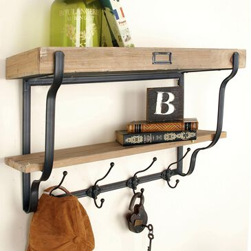 """Maple and Jade 17"""" x 26"""" 2-Tier Wall Shelf in Light Brown, , large"""