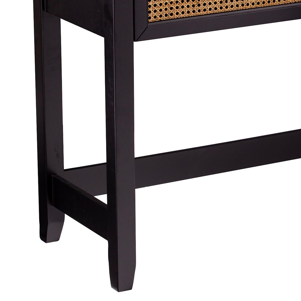Southern Enterprises Chekshire Storage Console Table in Black and Natural, , large