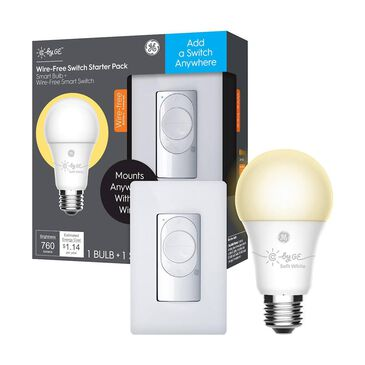 C by GE Wire-Free Switch + SW A19 Smart Bulb in White, , large