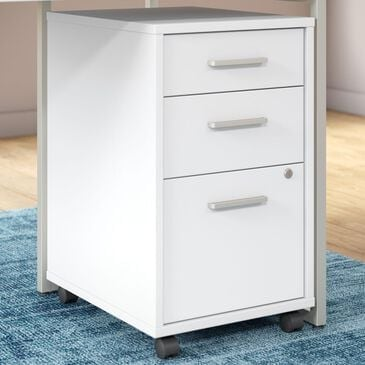 Bush Method 3-Drawer Mobile File Cabinet in White, , large