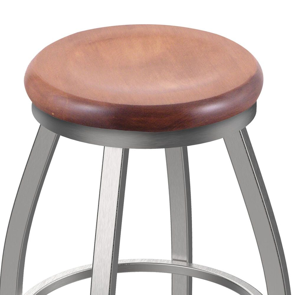 """Holland Bar Stool 802 Misha 25"""" Swivel Counter Stool with Stainless and Medium Maple Seat, , large"""