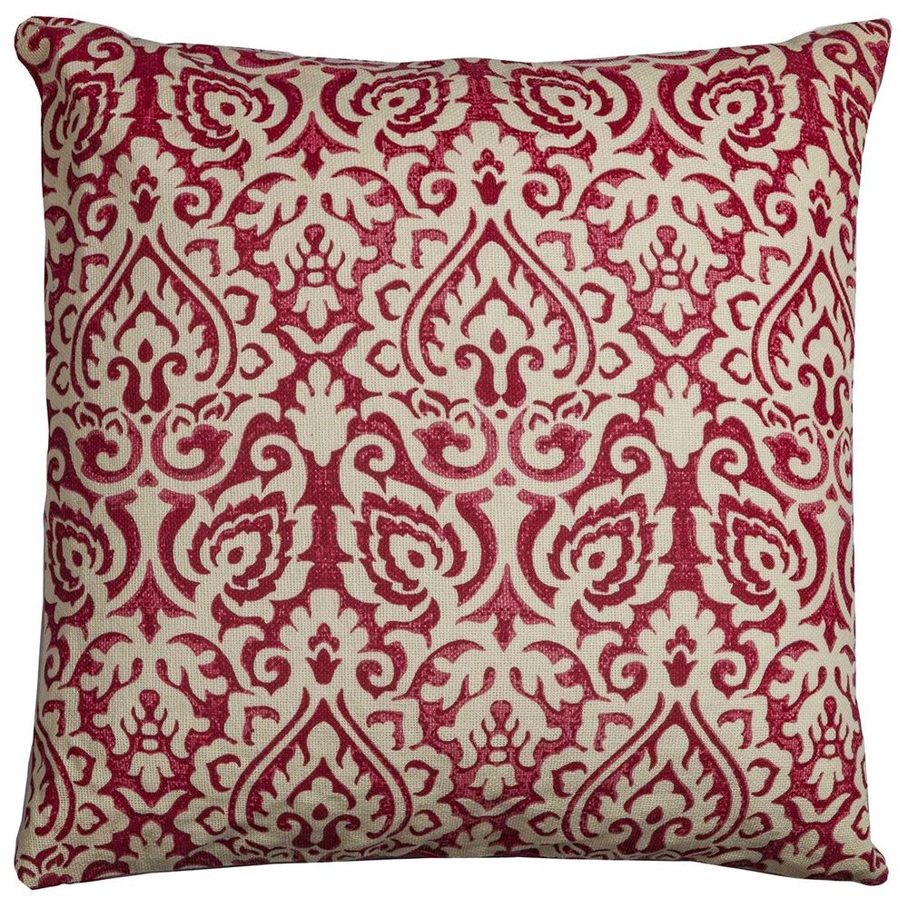 """Rizzy Home 22"""" x 22"""" Damask Pillow Cover in Red and White, , large"""