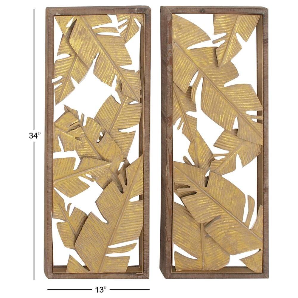 "Maple and Jade 34"" Hawaiian Leaf Wall Decor in Yellow (Set of 2), , large"