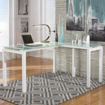 "Signature Design by Ashley Baraga 61"" L-Desk with Glass Top in White, , large"