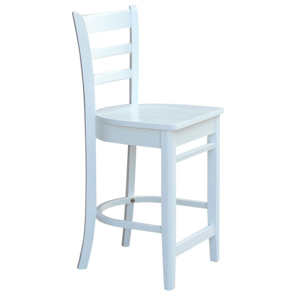 """International Concepts Emily 24"""" Counter Stool in White, , large"""
