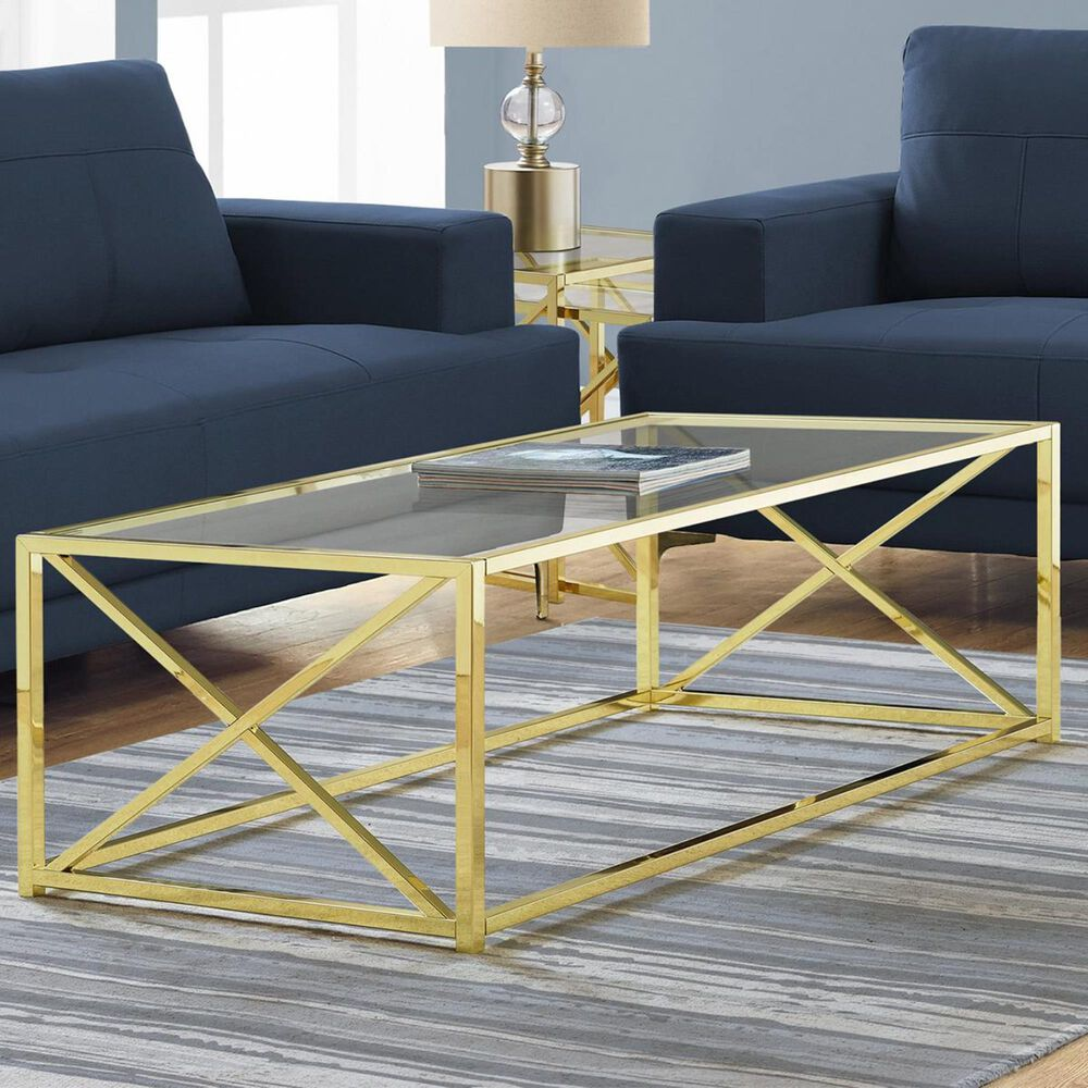 """Monarch Specialties 44"""" Coffee Table in Gold and Glass, , large"""