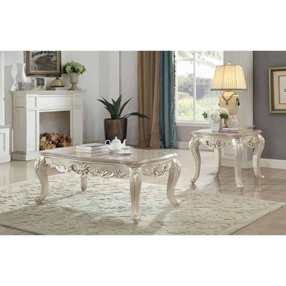 Gunnison Co. Gorsedd End Table in Marble and Antique White, , large