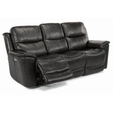 Flexsteel Cade Leather Power Reclining Sofa with Power Headrest in Raven, , large
