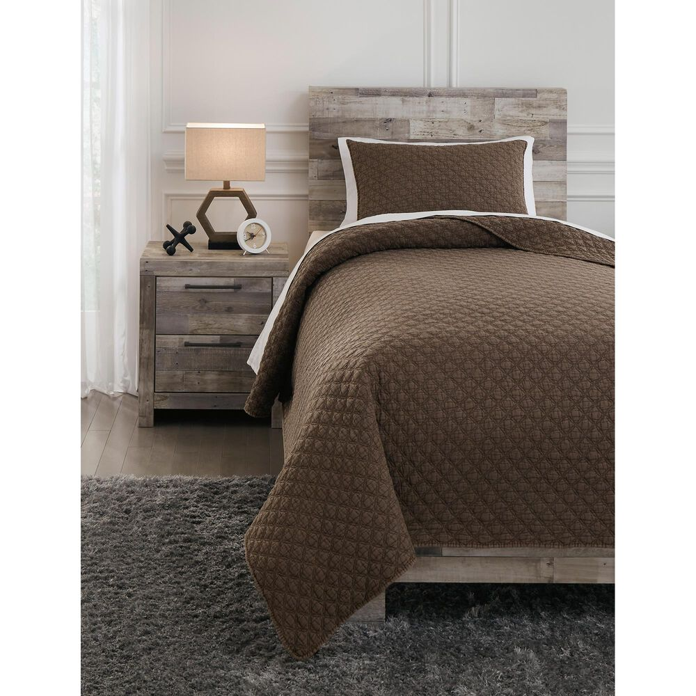 Signature Design by Ashley Ryter 2-Piece Twin Coverlet Set in Brown, , large