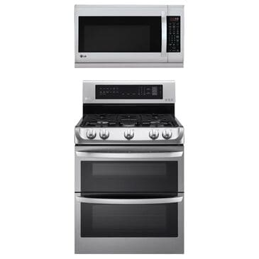 LG 2-Piece Kitchen Package with 6.9 Cu. Ft. Gas Double Oven Range and 2.2 Cu. Ft. Microwave Oven in Stainless Steel, , large