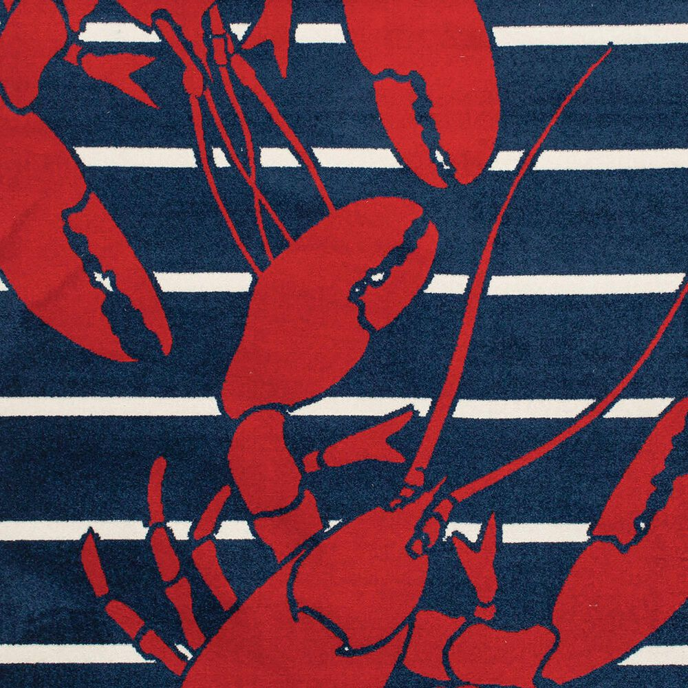 """Central Oriental Terrace Tropic Lively Lobsters 2338PN.085 5' x 7'3"""" Sapphire and Snow Area Rug, , large"""