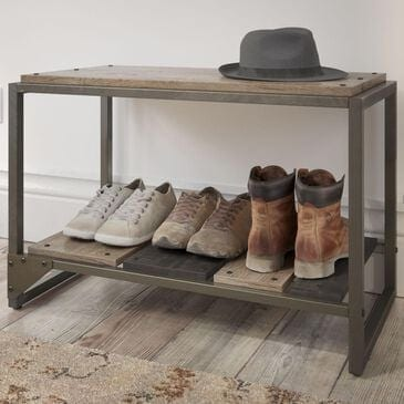 Bush Refinery Shoe Storage Bench in Rustic Gray, , large