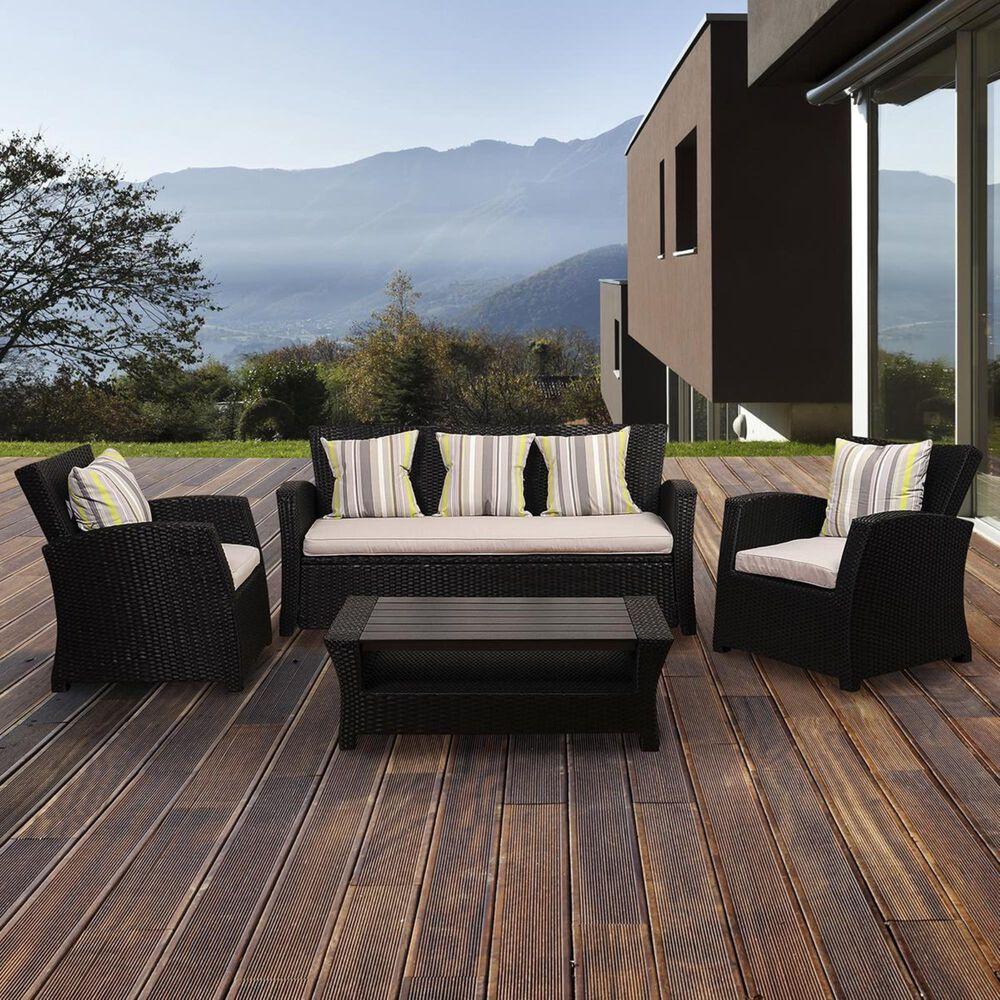 International Home Miami Atlantic Staffordshire Black Wicker Sofa with Light Grey Cushions, , large