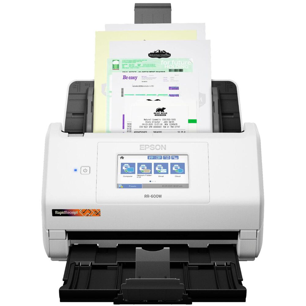 Epson RapidReceipt RR-600W Wireless Duplex Touchscreen Desktop Receipt and Color Document Scanner in White, , large