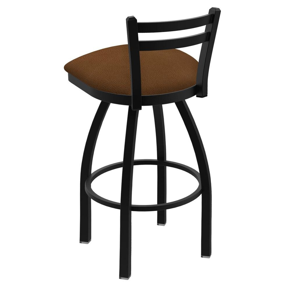 Holland Bar Stool Jackie Low Back Swivel Counter Stool with Black Wrinkle and Rein Thatch Seat, , large