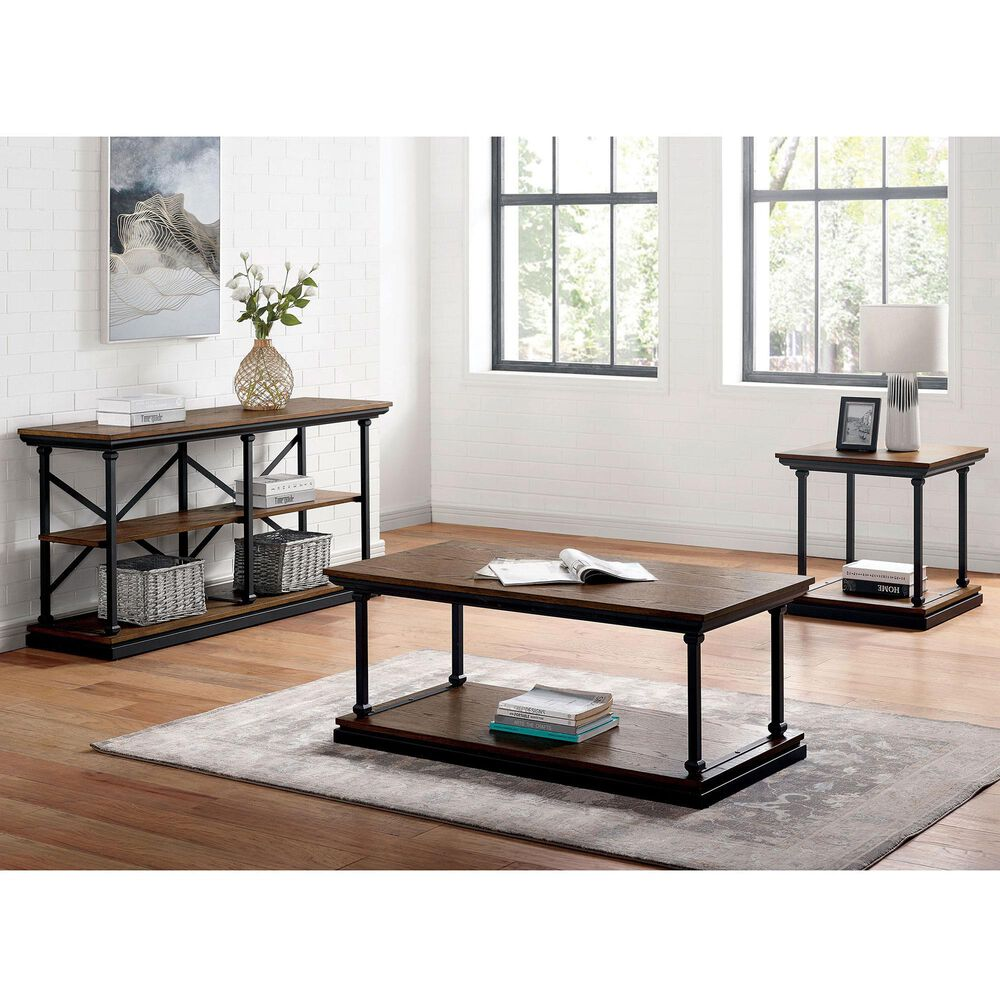 Furniture of America Pollard 3-Piece Occasional Table Set in Dark Oak/Black, , large