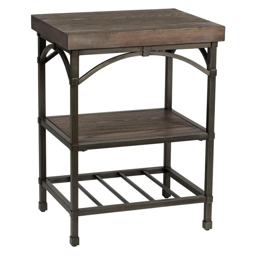 Belle Furnishings Franklin Chair Side Table in Rustic Brown, , large