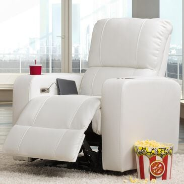 CorLiving Tucson Home Theater Power Recliner with Cup Holders in White, , large