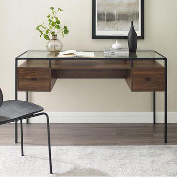 Walker Edison Dark Walnut Glass Top Desk, , large