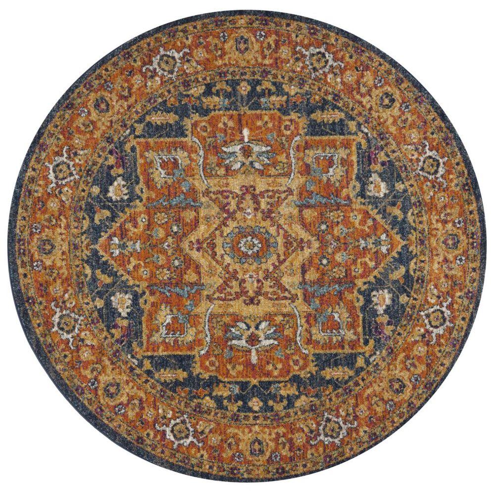 Safavieh Evoke EVK275C 3' Round Blue and Orange Area Rug, , large