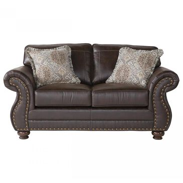 Hughes Furniture Loveseat in Ridgeline Brownie, , large