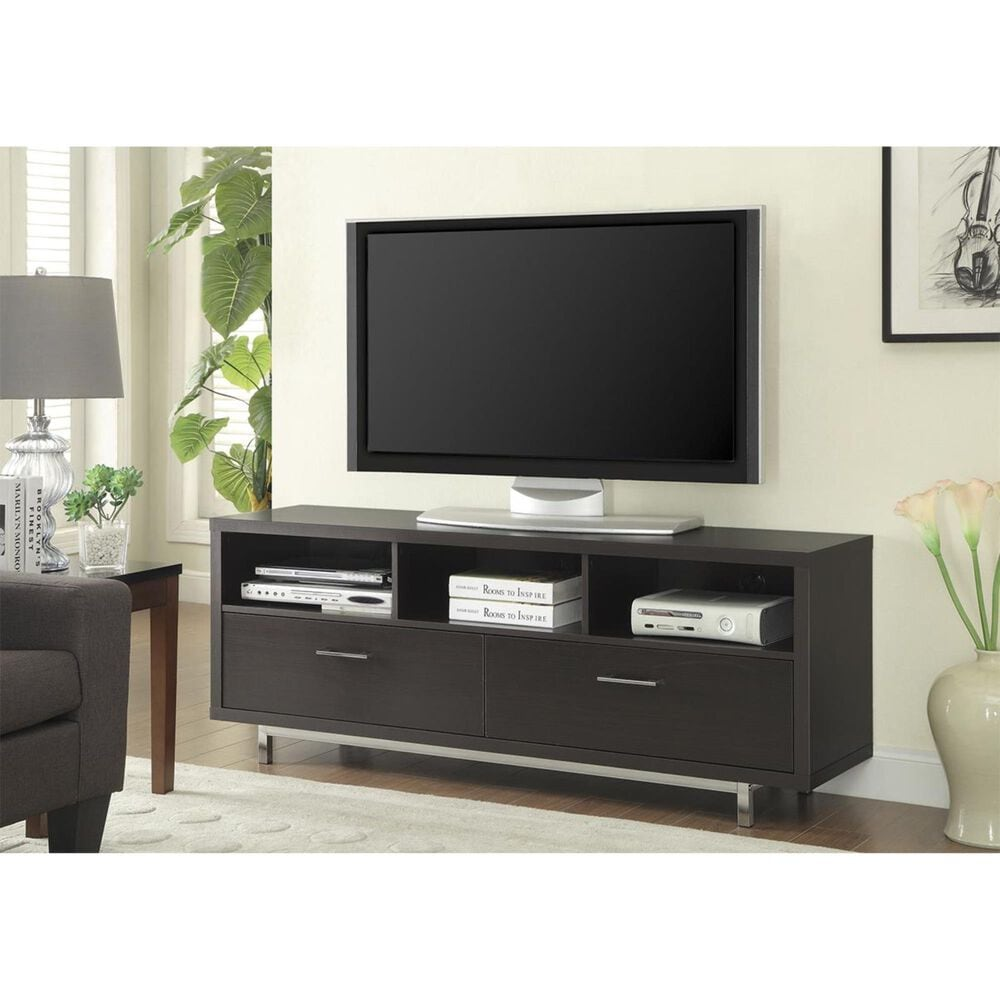 Pacific Landing TV Console with Metal Base in Cappuccino, , large